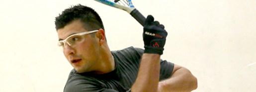 Alex Cardona lines up a backhand shot