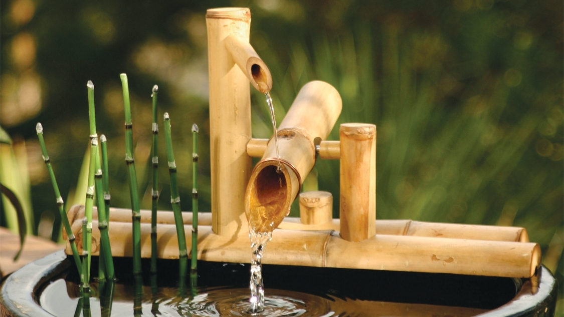 Zen, DIY, bamboo, fountain, water flow, soothing, tropical, tiki, Japanese, Asian, garden, water feature, spitter, shishi odoshi, water knocker, water gardening, feng shui, ponds, waterfall, bamboo fountain, bamboo spout, serenity, cat fountain, pet fountain, dog fountain, traffic masking, deer scarer, Kill Bill, eco friendly, green, natural bamboo, handcrafted, solid bamboo, iron bamboo, tam vong, garden gifts, humidifier, ceramics, pottery, garden accessories, kakehi fountain, take