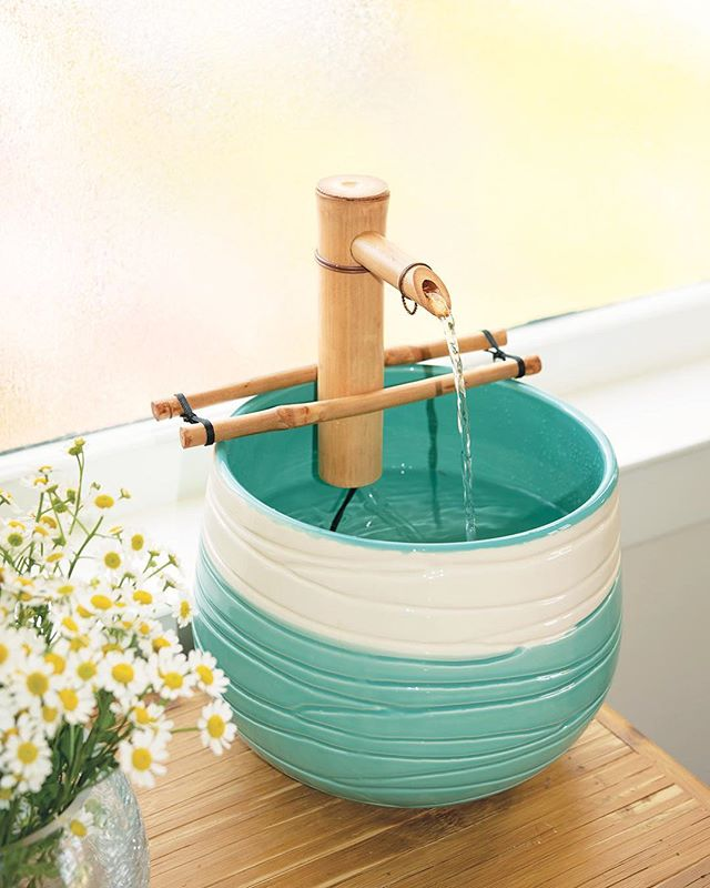 """Who else is done with this frigid winter? 🙋♀️🙋♂️Bring spring vibes to your indoor space with our 7"""" bamboo water spout and pump kit. 🌸 #homedecor #sustainablebamboo #bamboofountain"""