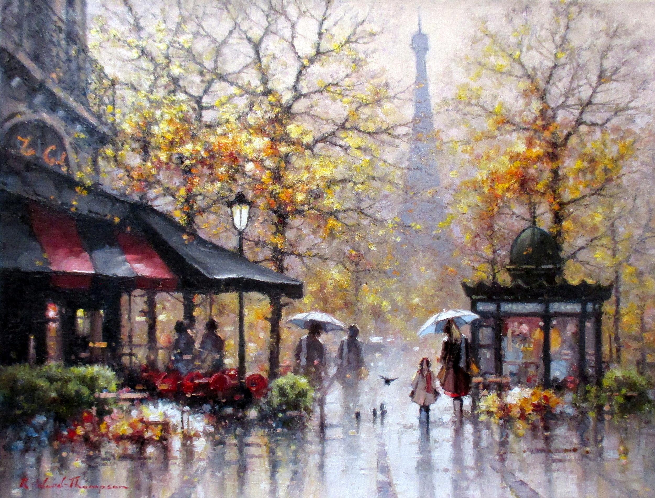 Autumn Showers in the Place de Varsovie, Paris