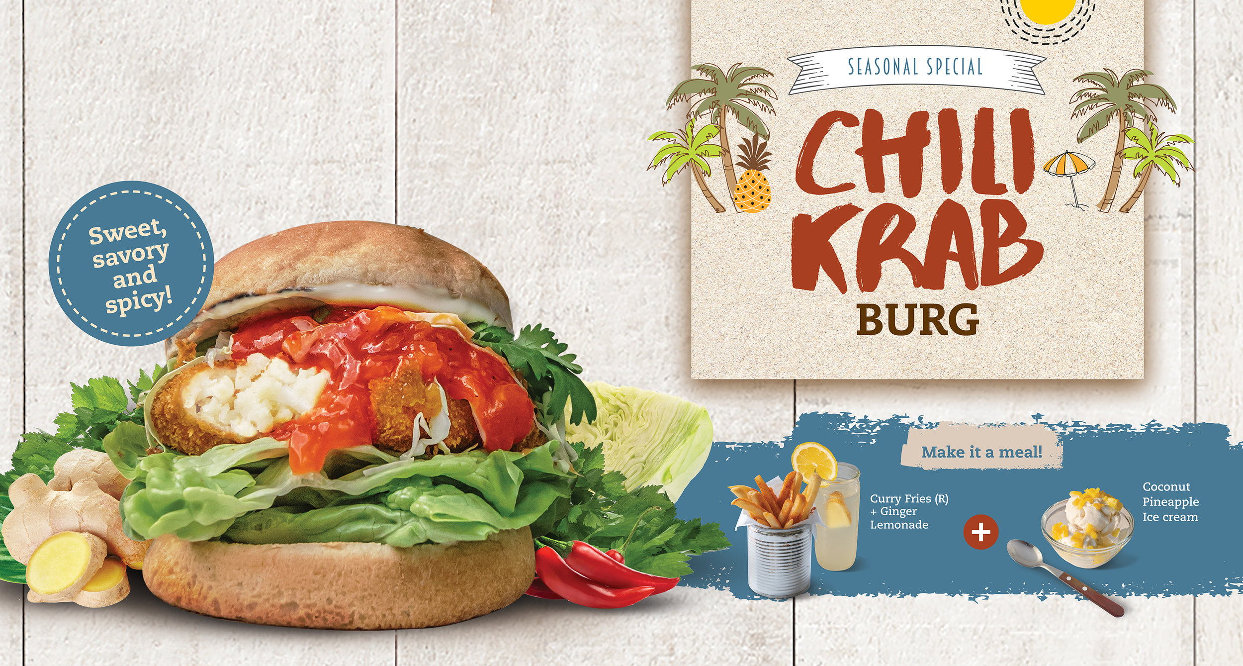 The Chili Krab Burg comes as a meal with Curry Fries, Ginger Lemonade and Coconut Pineapple Ice cream