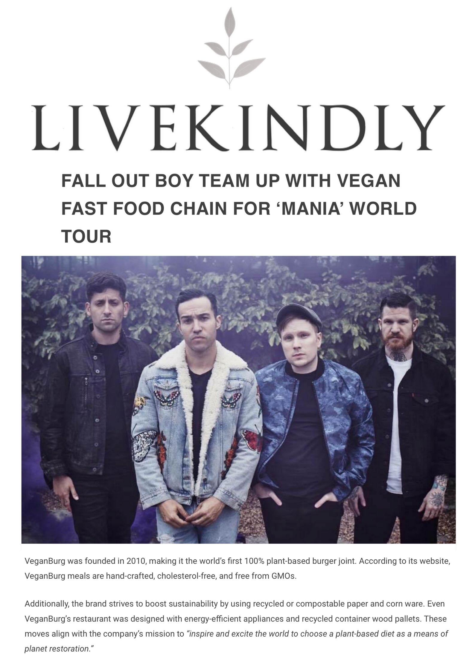 """Vegan fast food burger chain, VeganBurg, has revealed it is the """"official food provider"""" for rock band Fall Out Boy's upcoming world tour, which celebrates their recent album Mania_.jpg"""