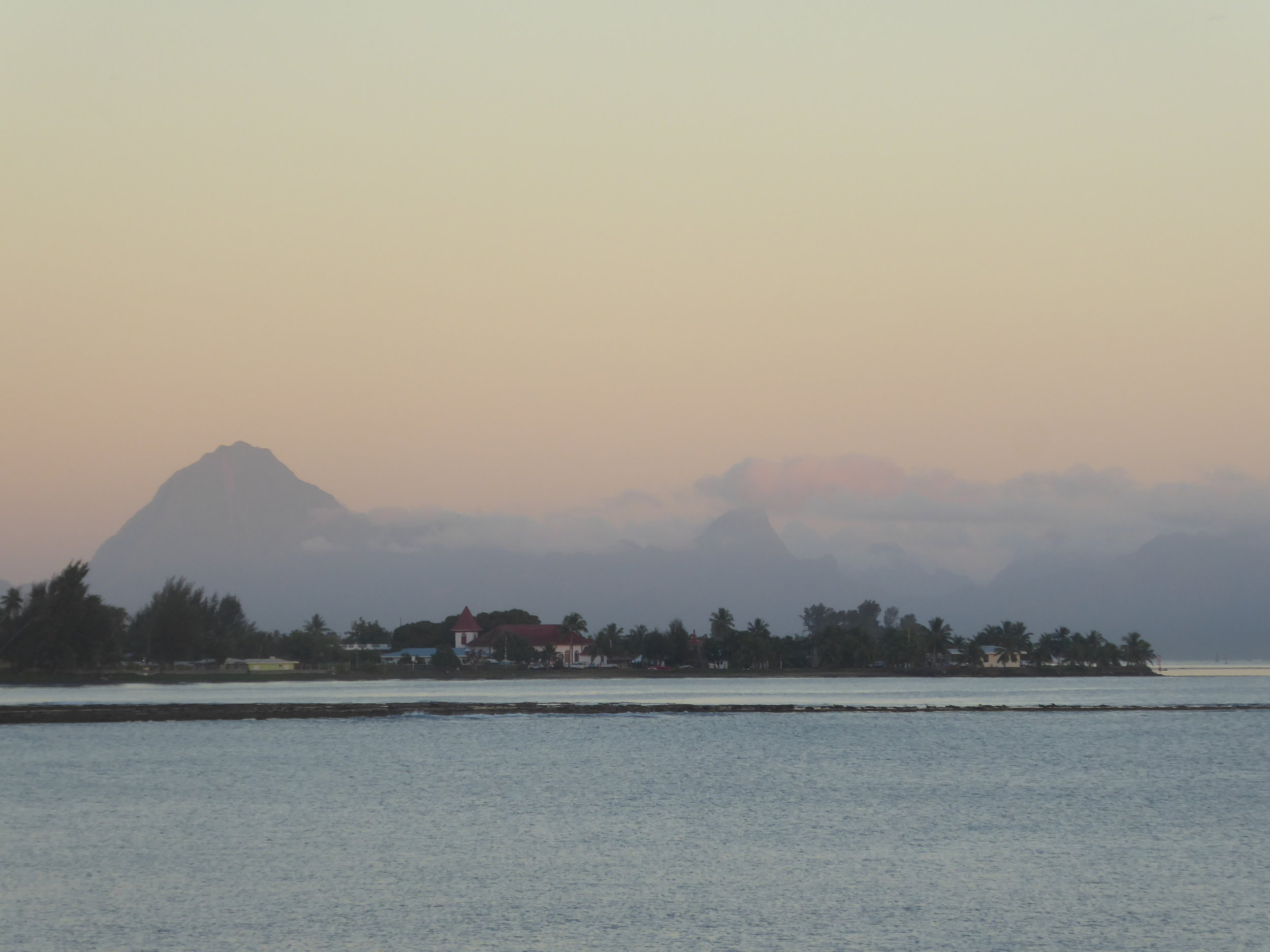 View from Tahiti across to Moorea