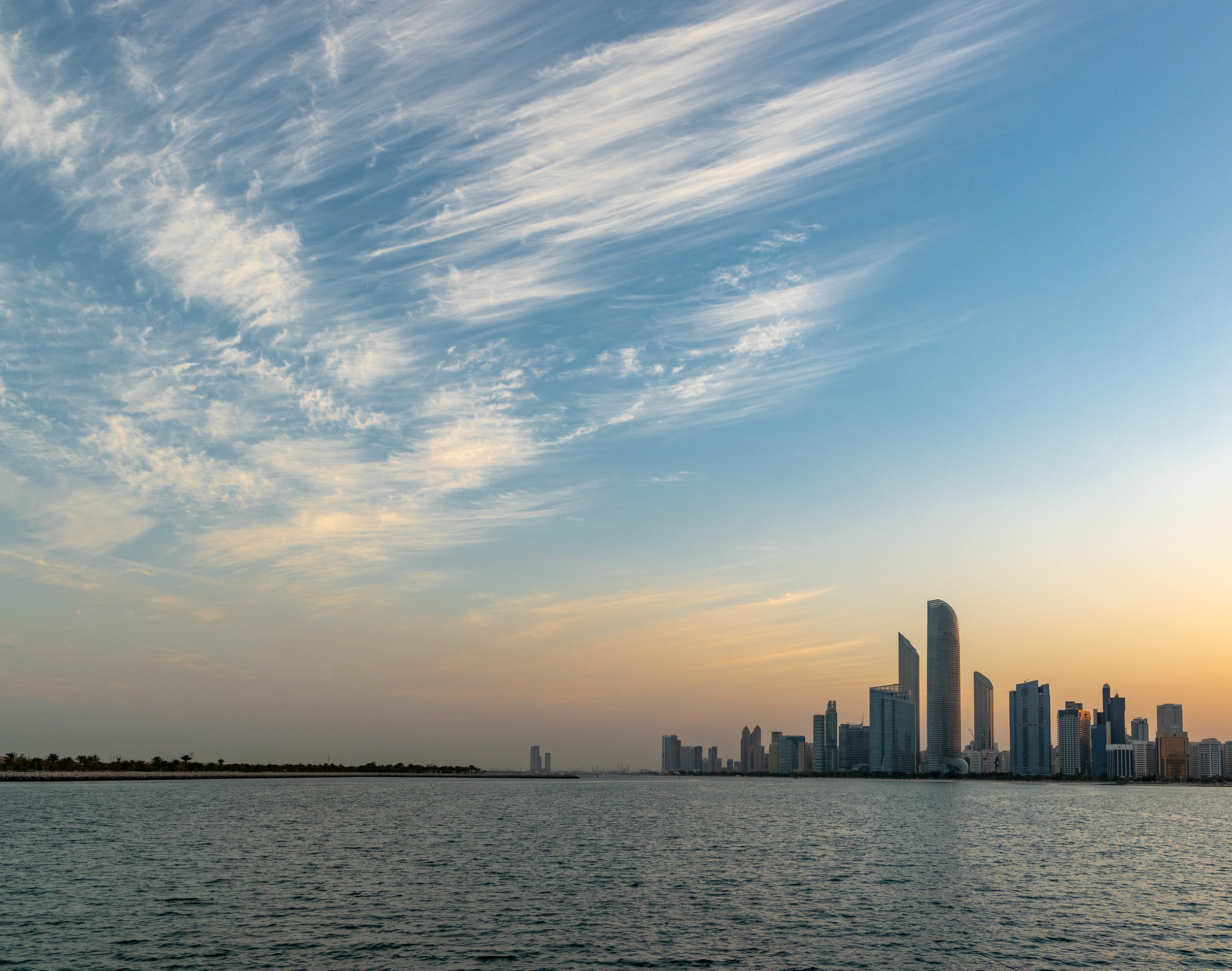 Early morning views out to the city from just up the road at Abu Dhabi Theatre