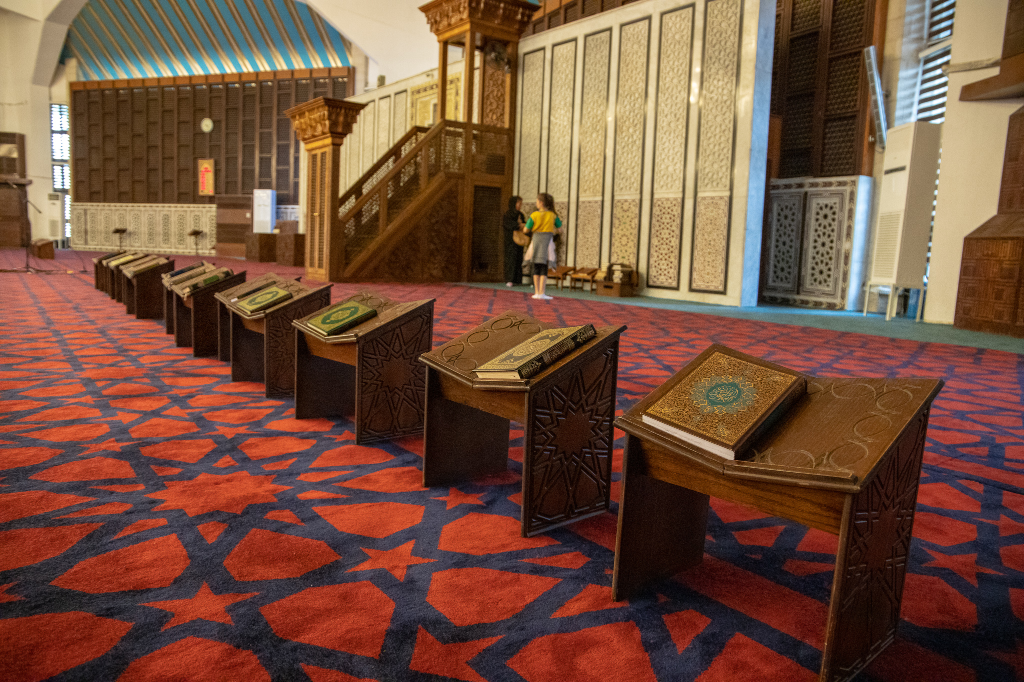 Prayer books lined up inside the mosque