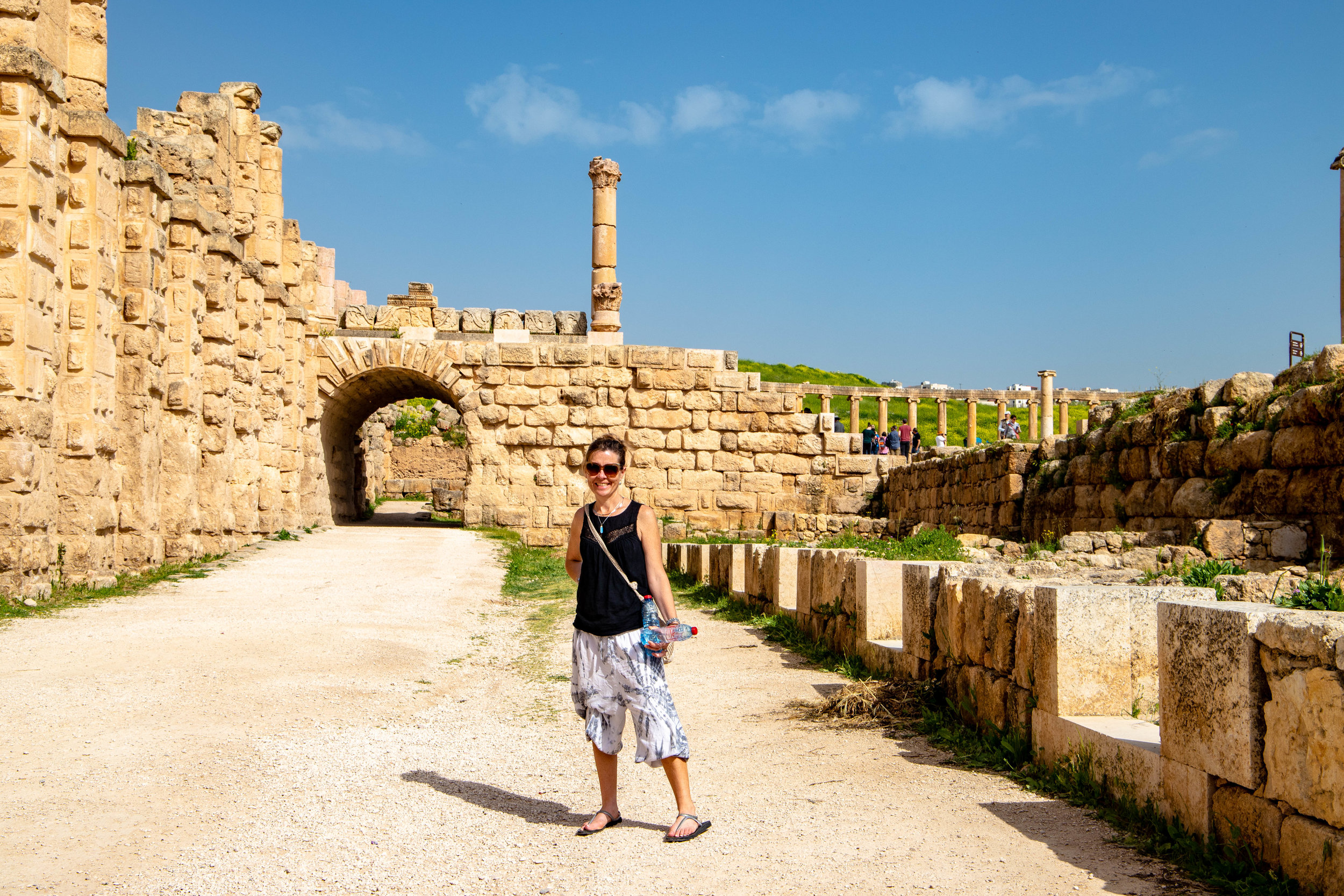 Buzz leading the way at the beginning of our Jerash jaunt