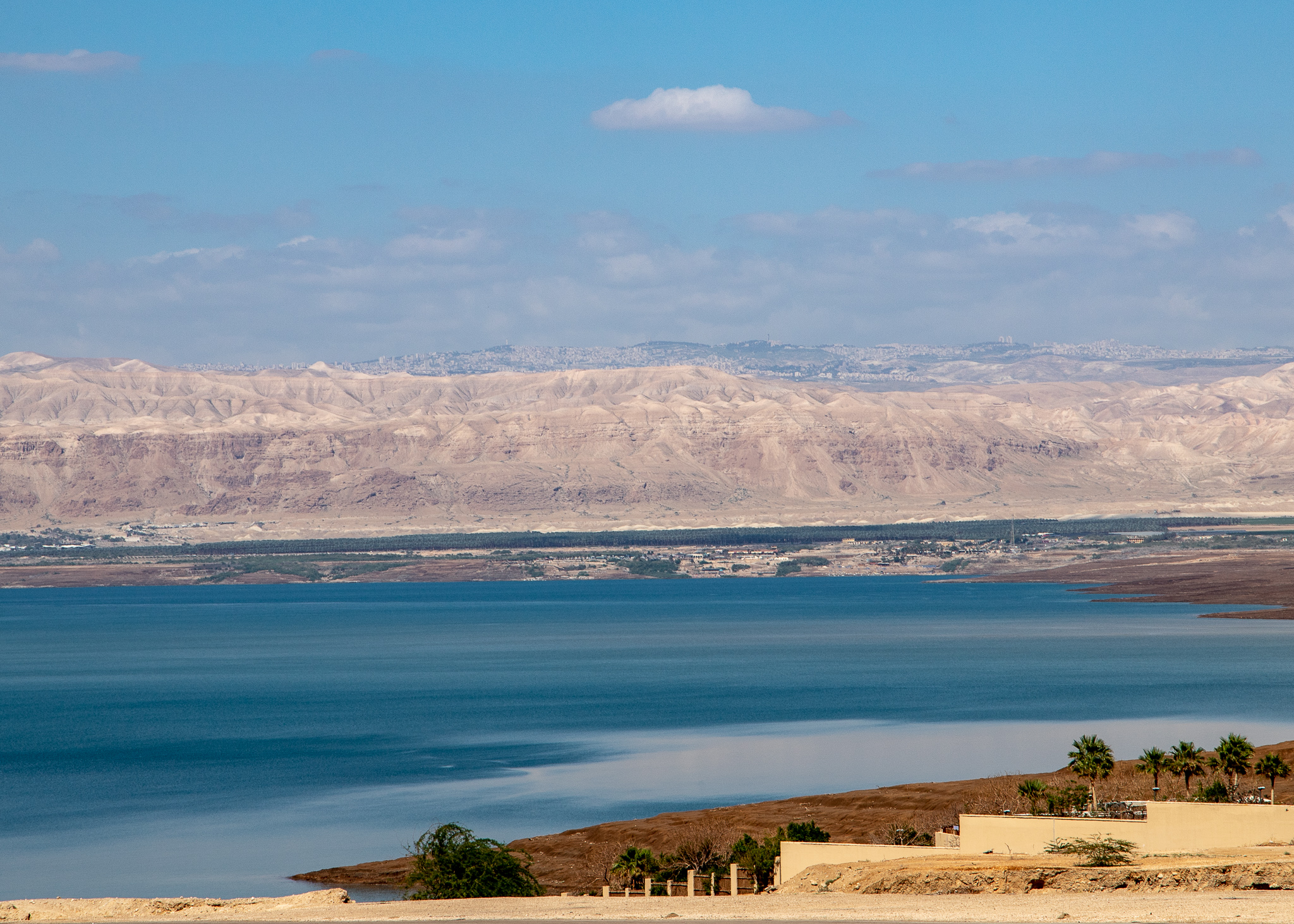 Northern end of the Dead Sea with Israel in the distance