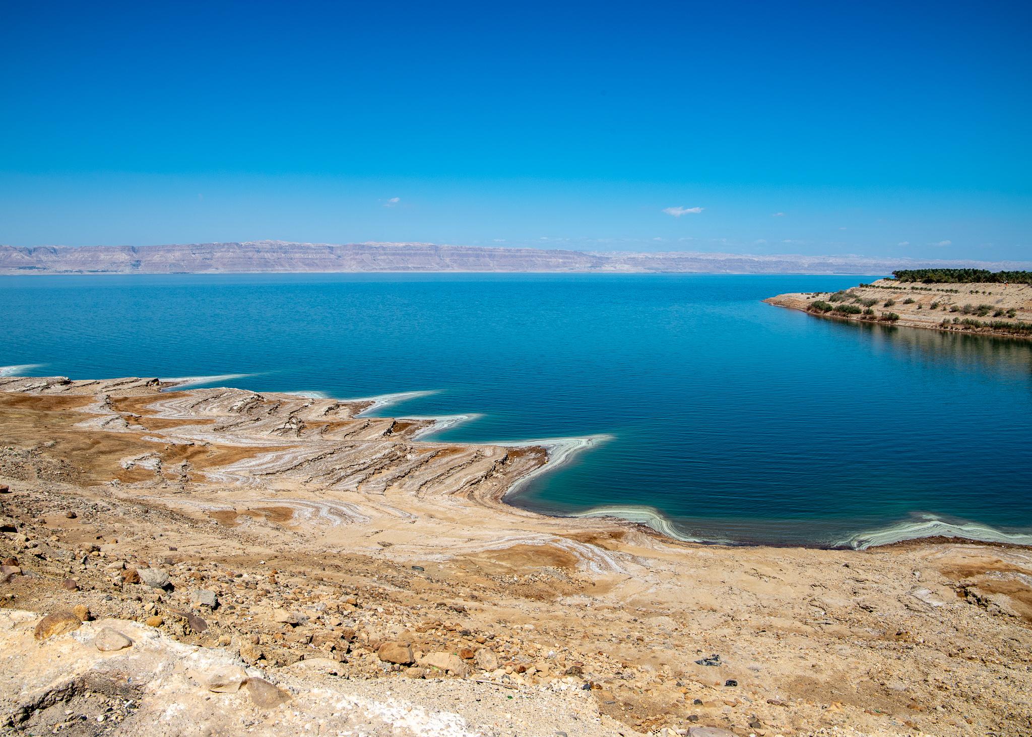 Salt deposits readily visible down at the shore