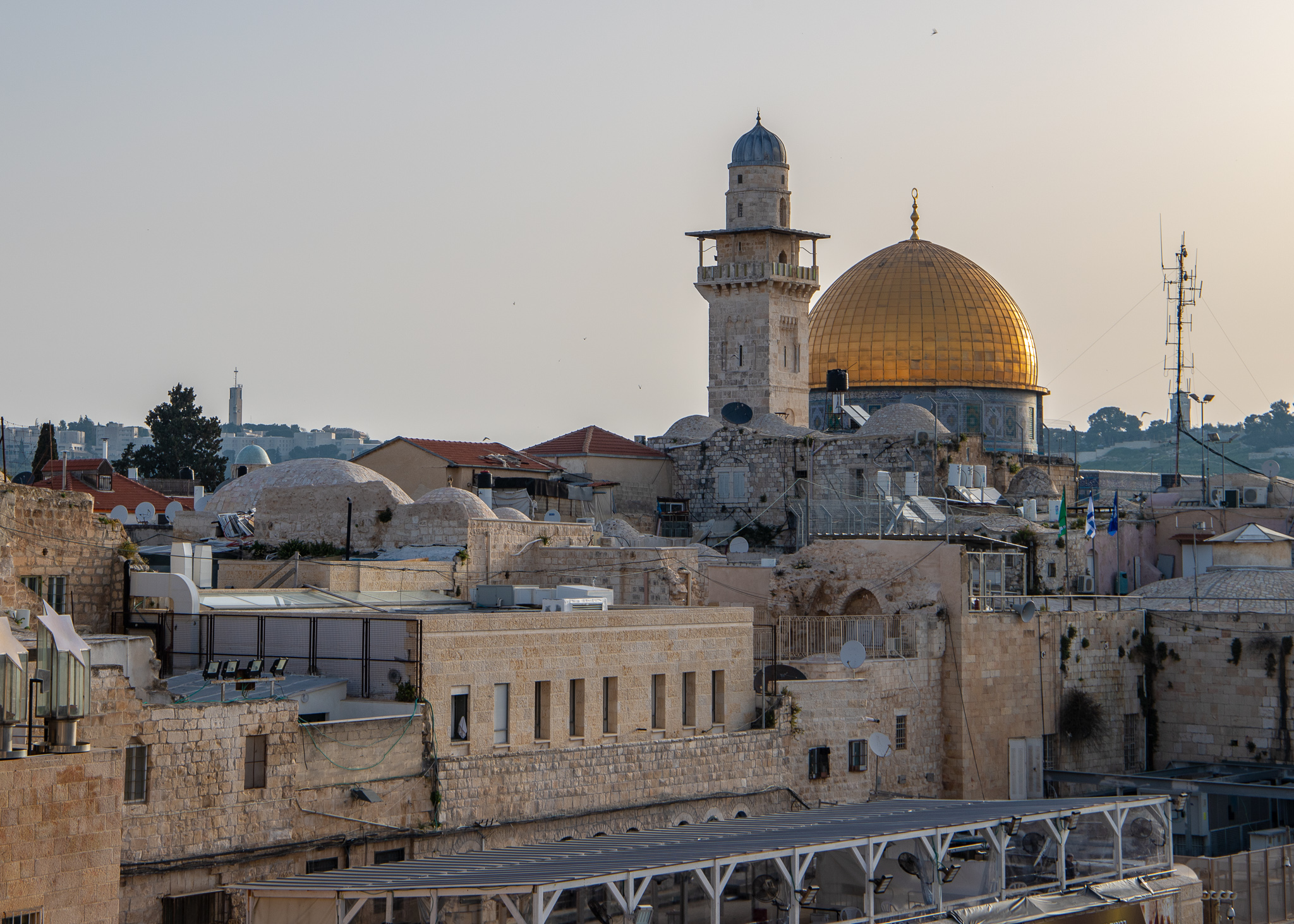 Early morning view of the Dome of the Rock from inside the Old City walls