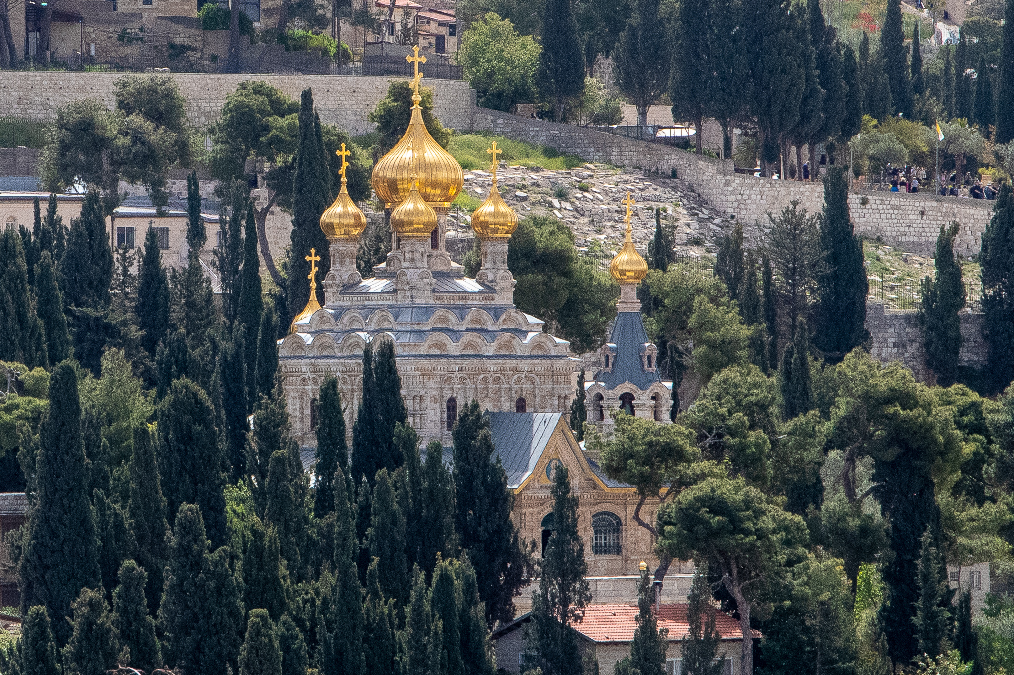 The Mary of Magdalene Church with six of its seven gilded onion domes visible
