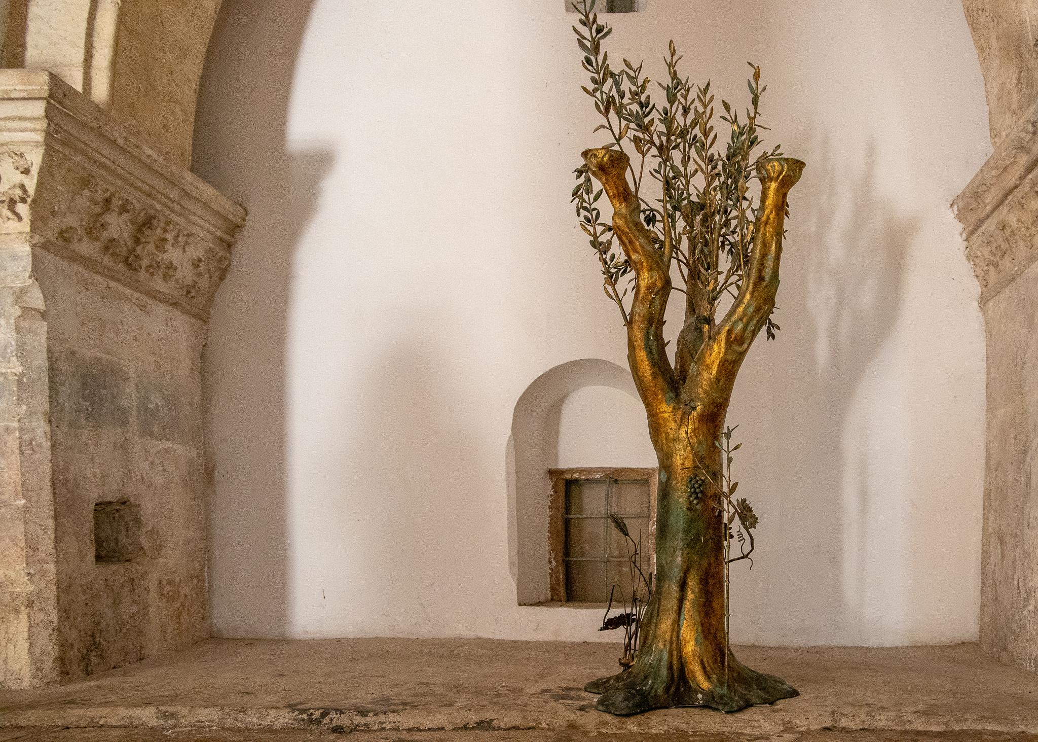 A bronze olive tree, hopefully symbolising future peace amongst the main Abrahamic religions