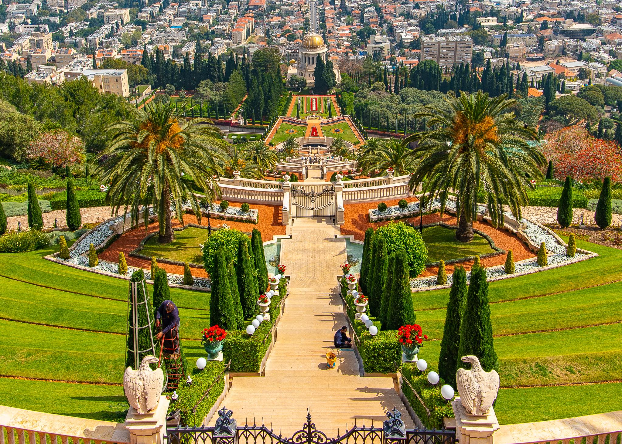 The many terraces of the Bahá'í Gardens