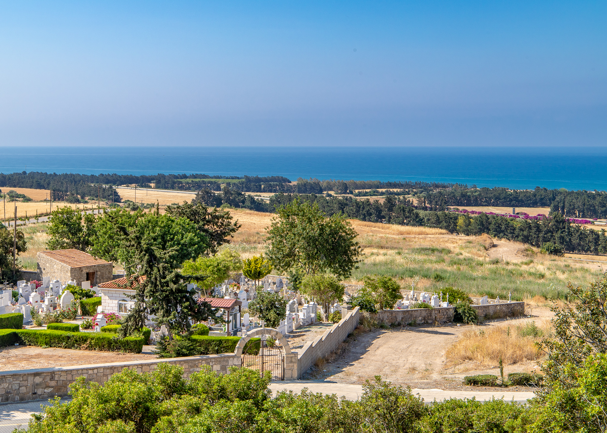 Views across a local cemetery down to the Mediterranean