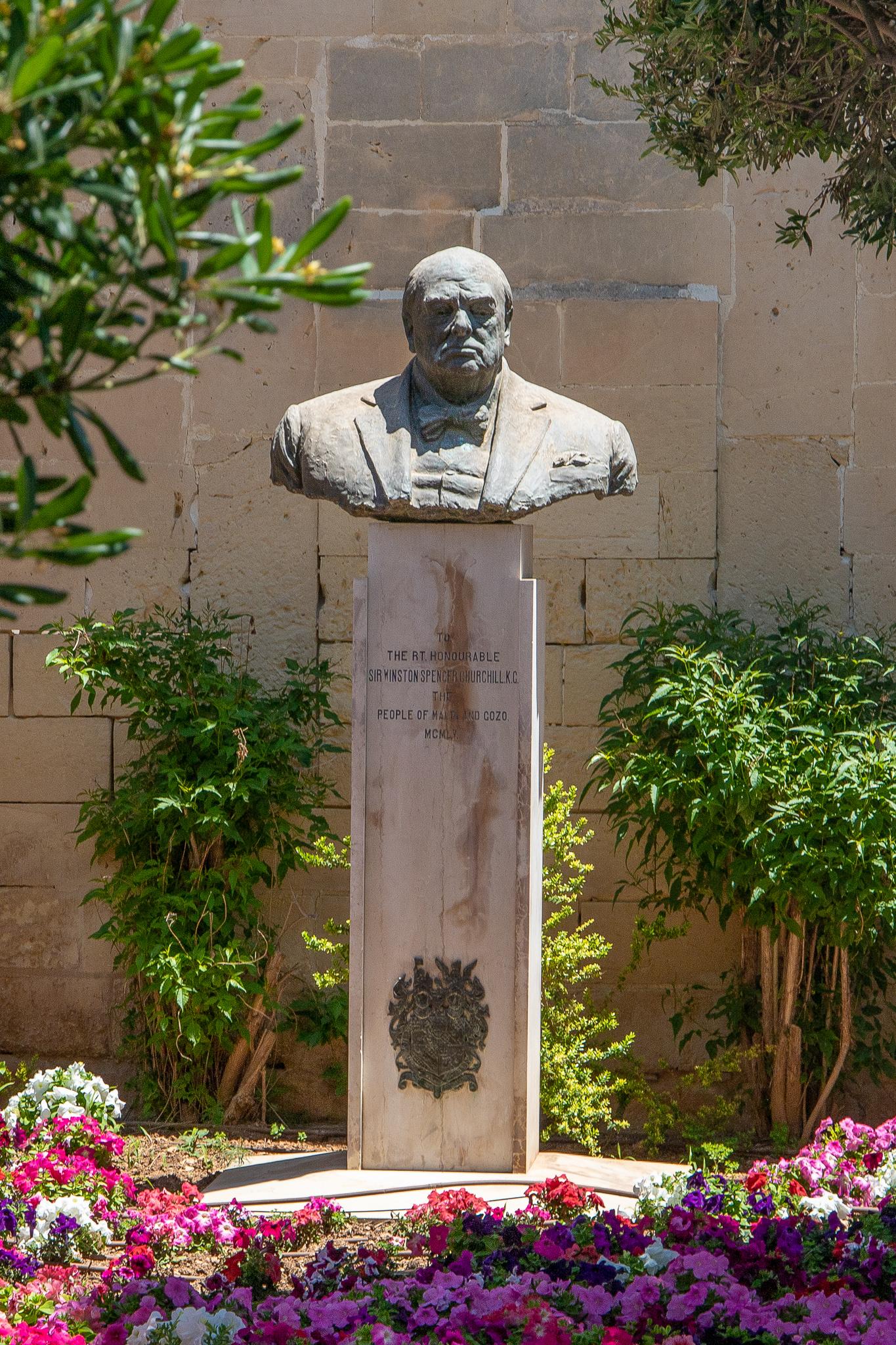 The bust of Sir Winston Churchill