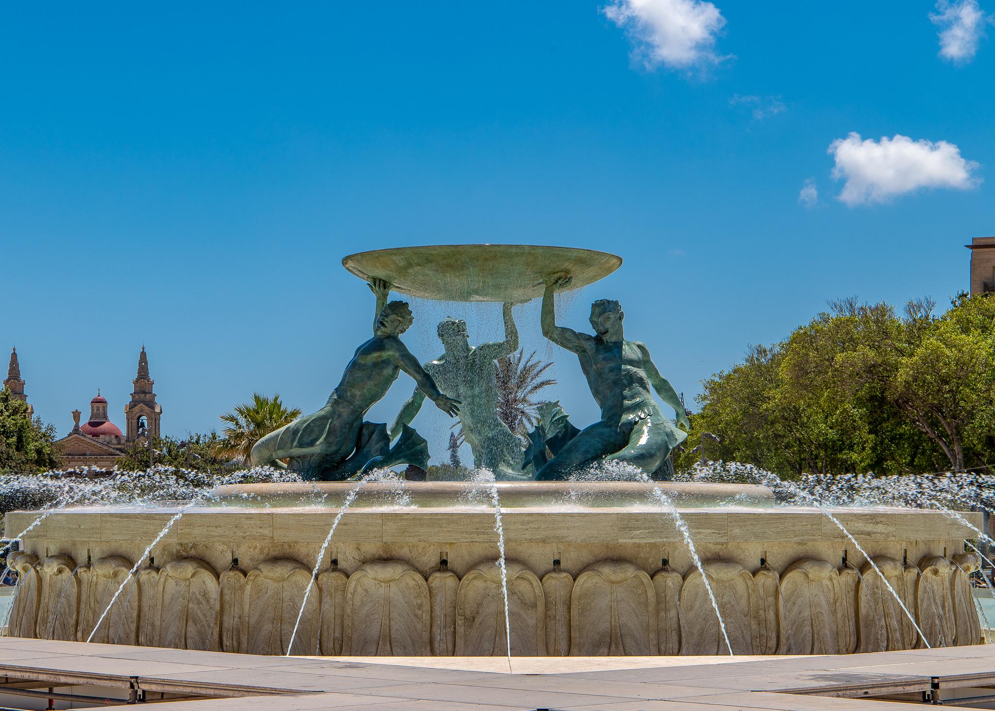 Sculpture depicting the Greek messenger god of the sea, Triton symbolising Malta's link to the sea