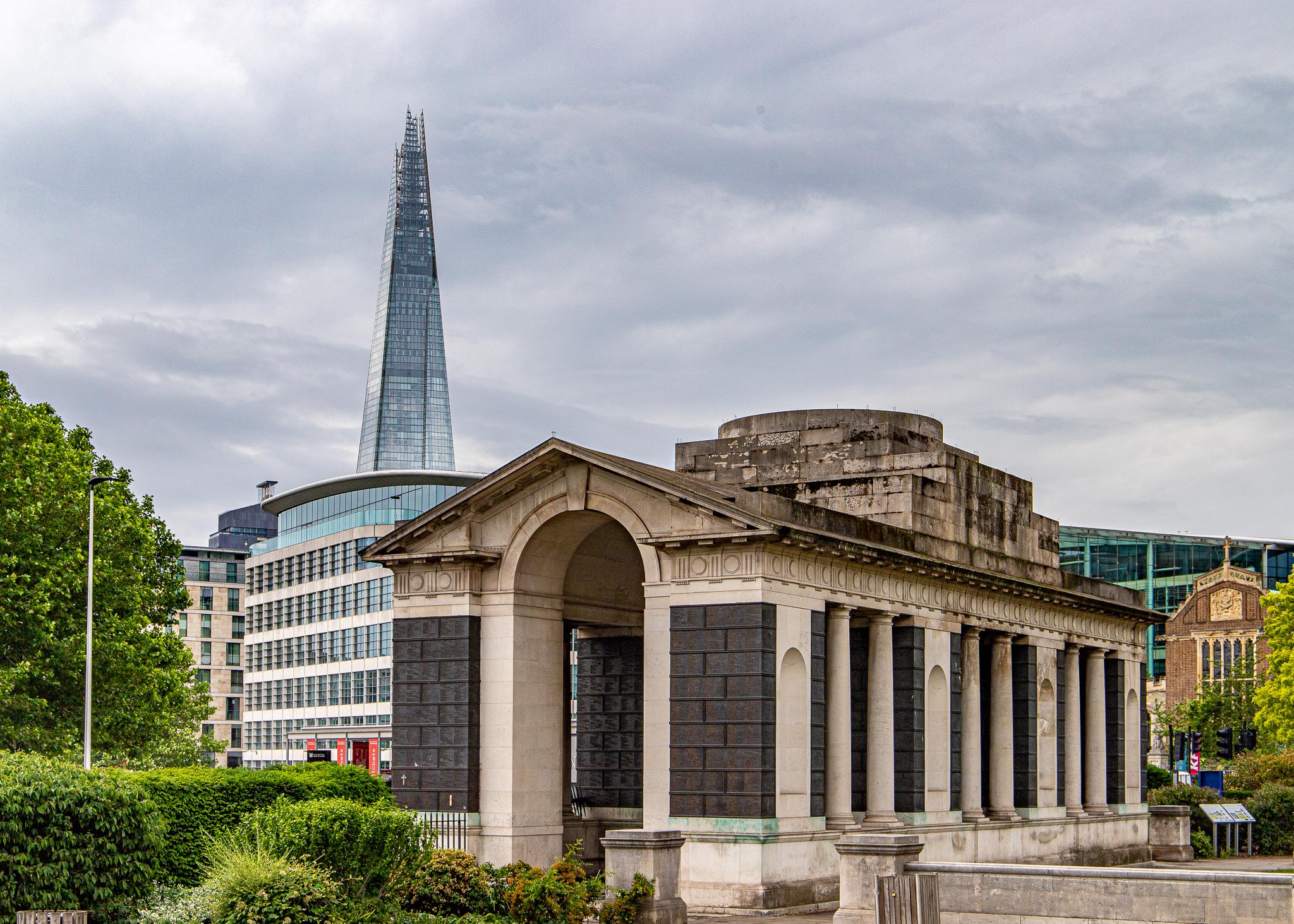 The Shard standing behind a war memorial
