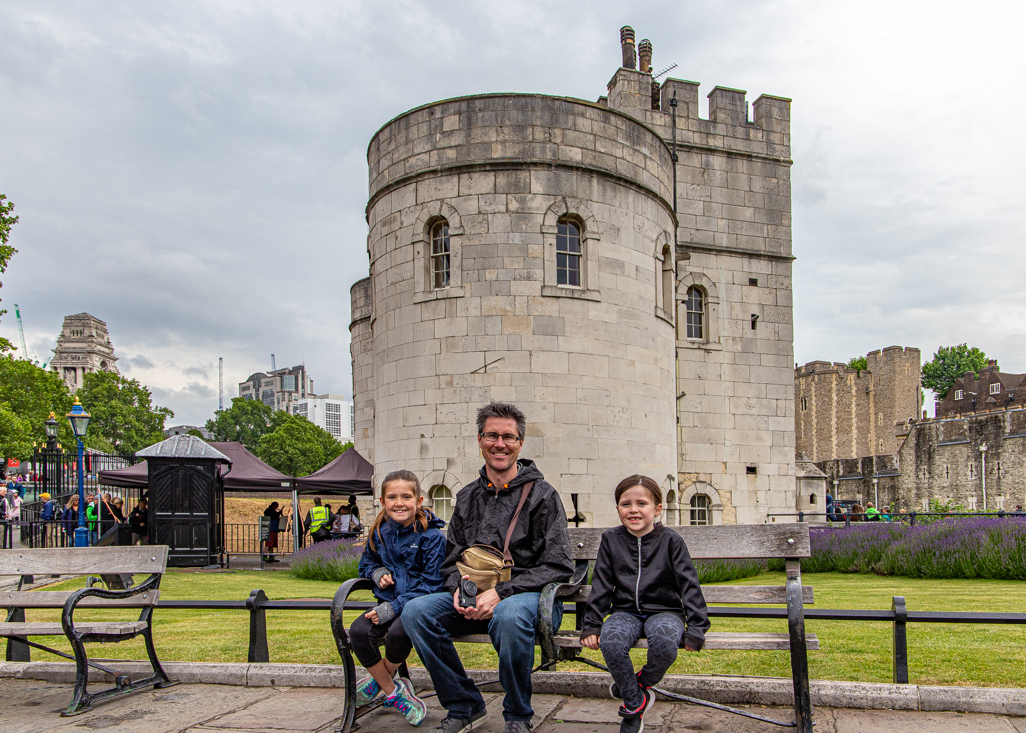 Uncle Mark and the girls outside London Tower