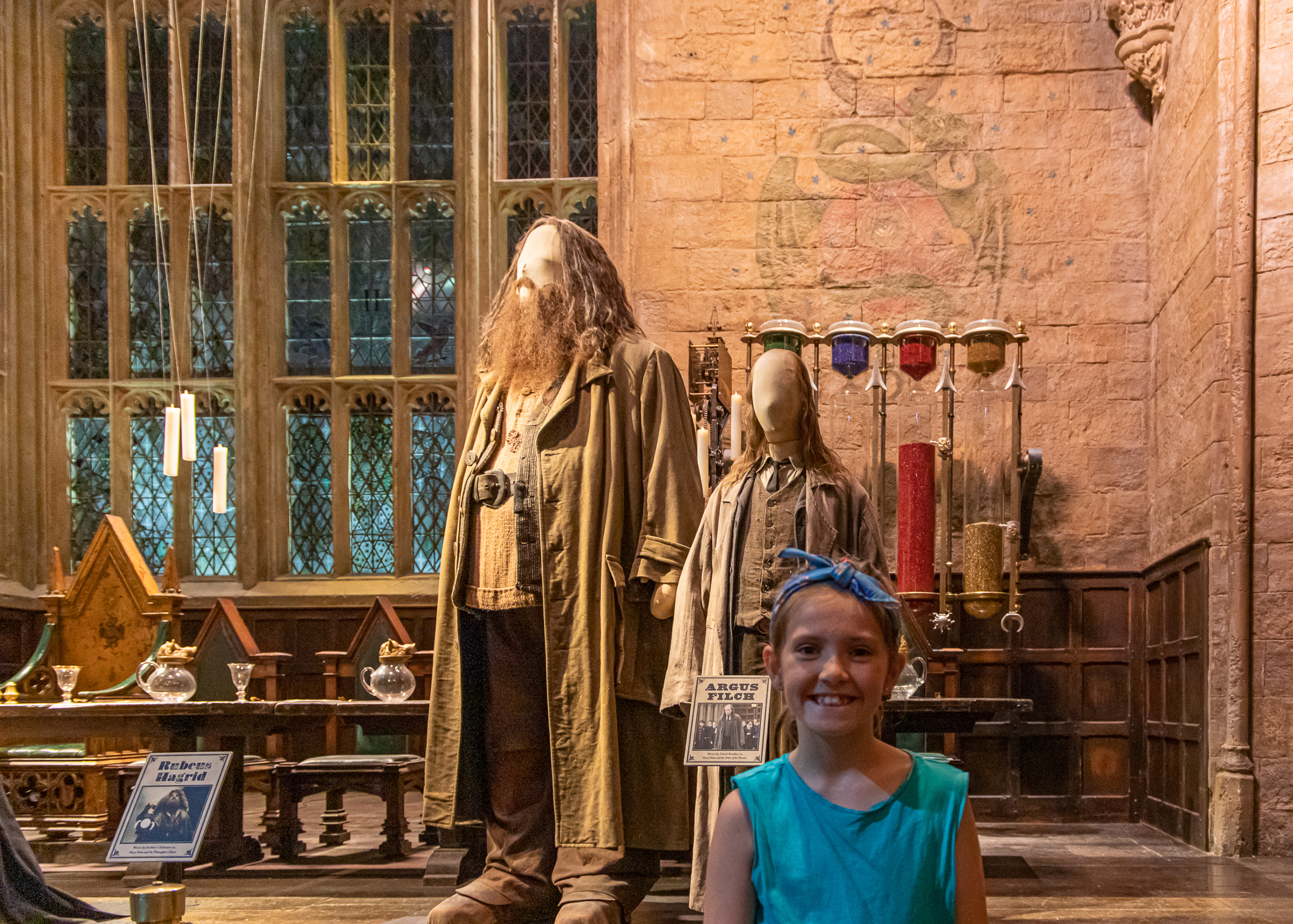 Belle with Hagrid and Filch