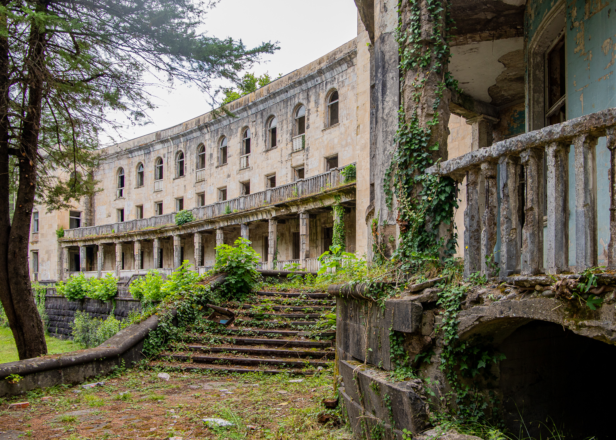 Dilapidated ruins of ex spa resort