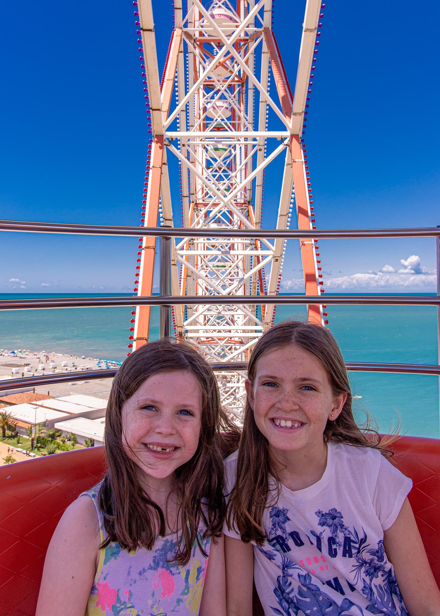 The girls loving their Ferris Wheel experience