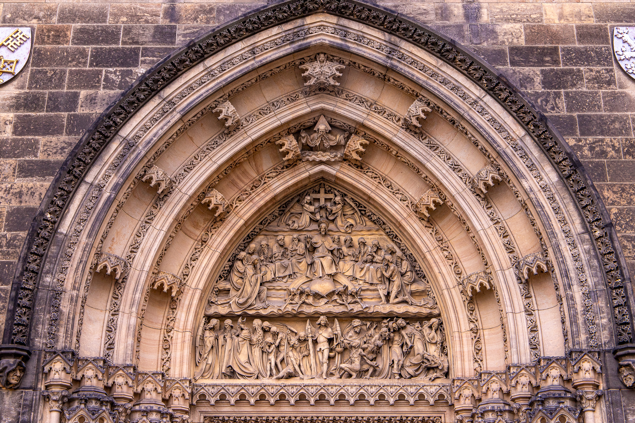 Intricate work above the entranceway