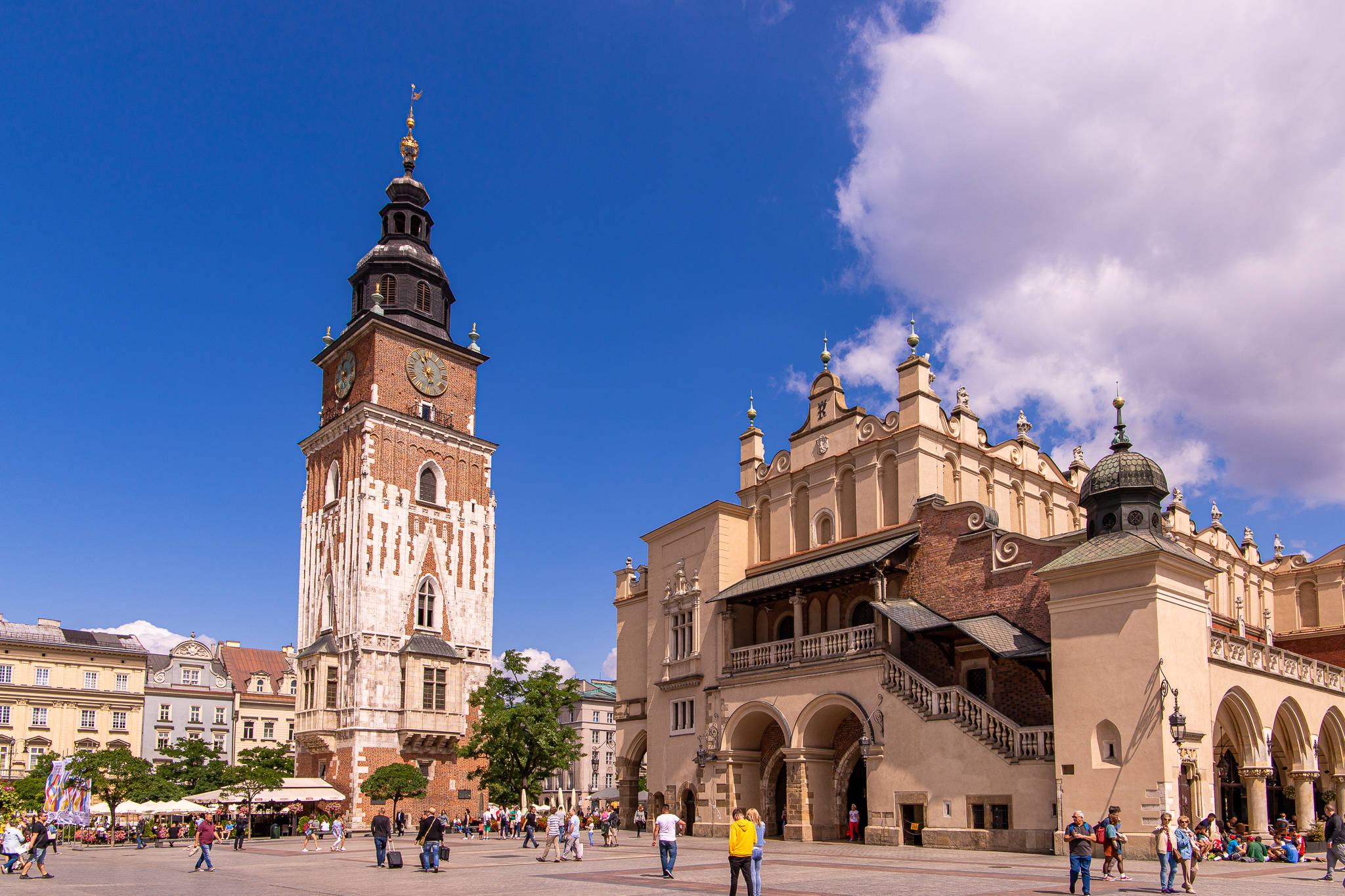 Krakow Town Hall and Cloth Hall off to the right