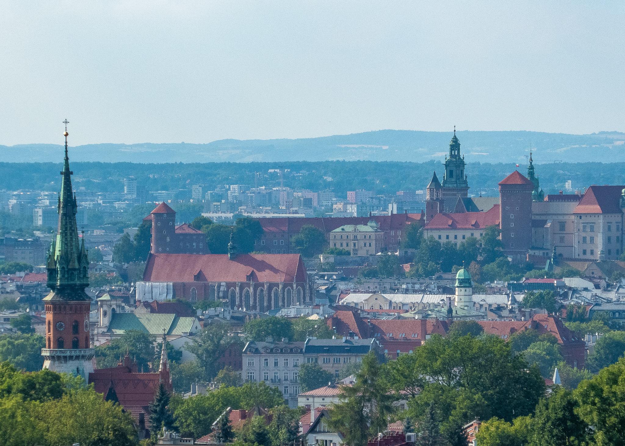 Views from Krakus Mound to Krakow's old town