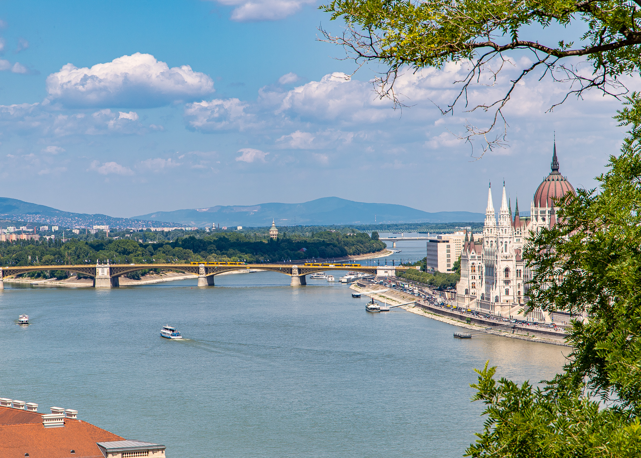 The Danube showcasing Margaret Island in the centre and Parliament buildings off to the right