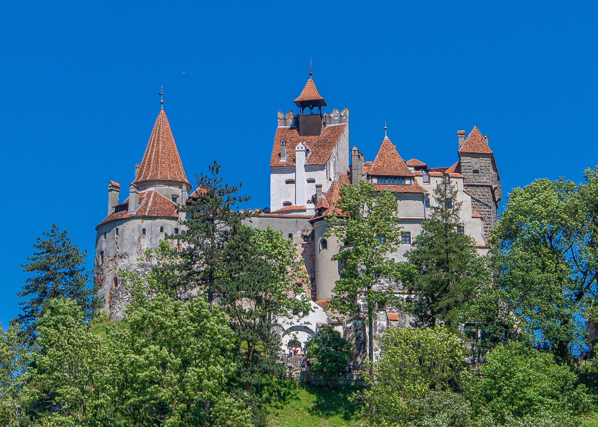 Bran Castle seen from the hillside opposite