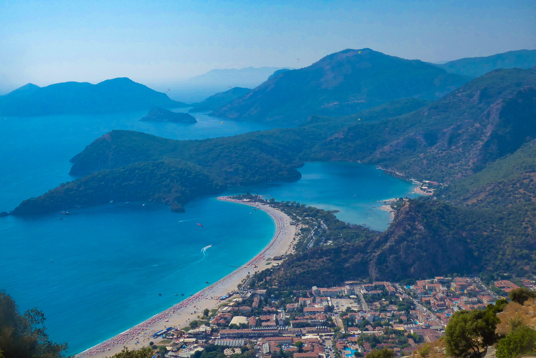 View down to the Oludeniz Beach and the Blue Lagoon