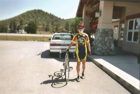 My father standing by his bicycle, from family collection, Yreka, CA, 2003