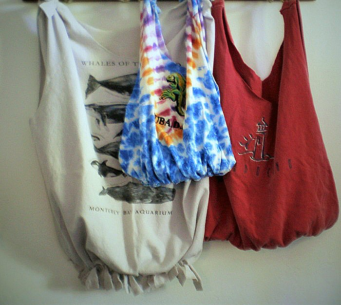 No-sew shopping bags hanging on hooks, by Laura Routh.