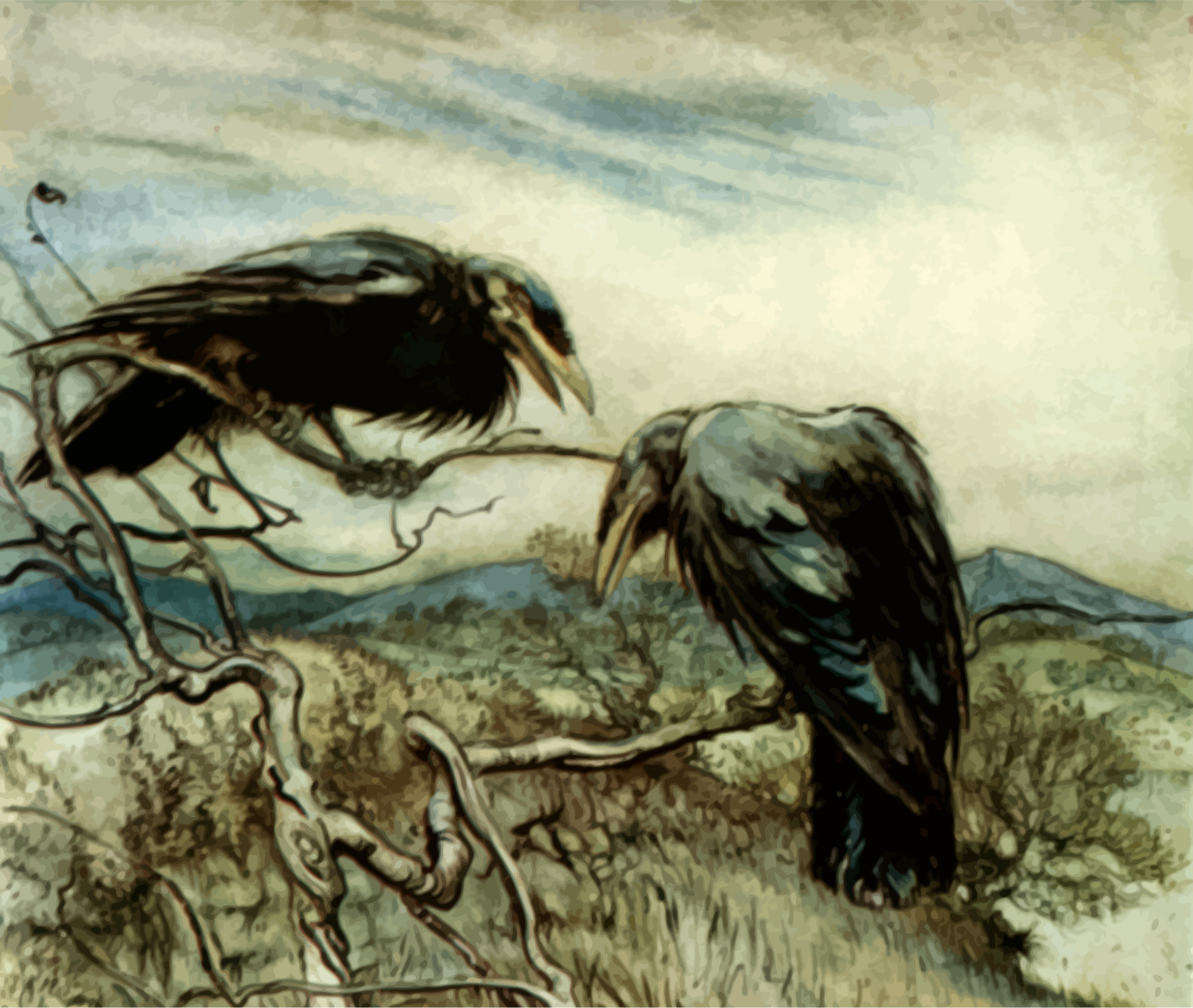 Crows, by Firkin, openclipart.org, from a public domain image on Wikimedia Commons by Arthur Rackham
