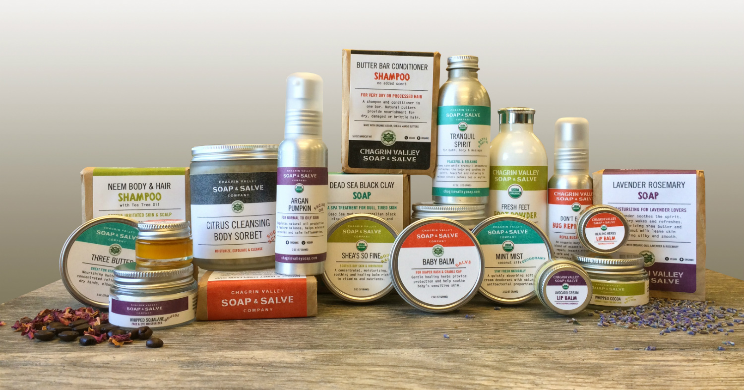 All Chagrin Valley Soap Products, image courtesy of Chagrin Valley Soap
