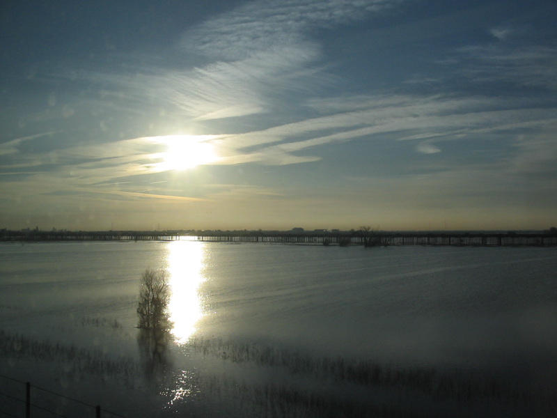 Flooded Yolo Bypass and the Yolo Bypass Wildlife Area, February 2006. By Steven Gross (Smgross at en.wikipedia) [Public domain], via Wikimedia Commons