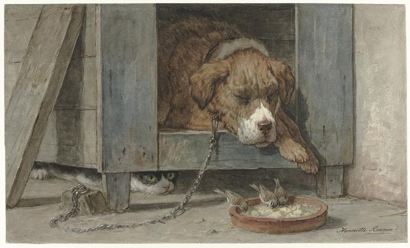 Kat bespiedt vogels bij een slapende hond, Henriëtte Ronner, 1831 - 190- penseel in kleuren, h 309mm × b 520mm bewerkt.jpg