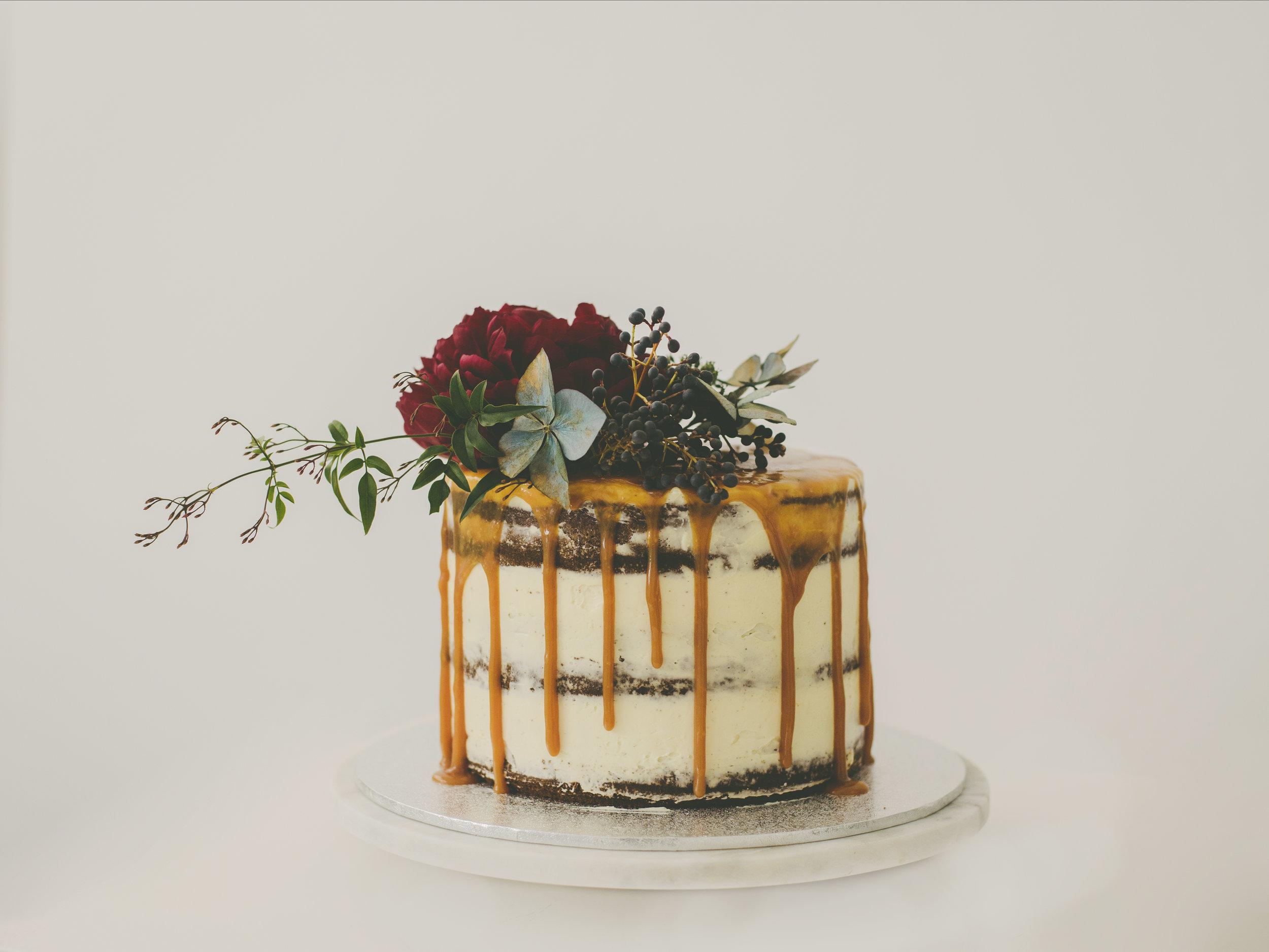 Dark Chocolate Caramel Drip Cake