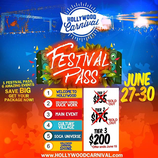 Due to countless Request we have extended our tier 3 Festival Pass deadline a few days longer! Be sure to take advantage of this BIG saving!! www.HollywoodCarnival.com #festivalPass #hollywoodcarnival