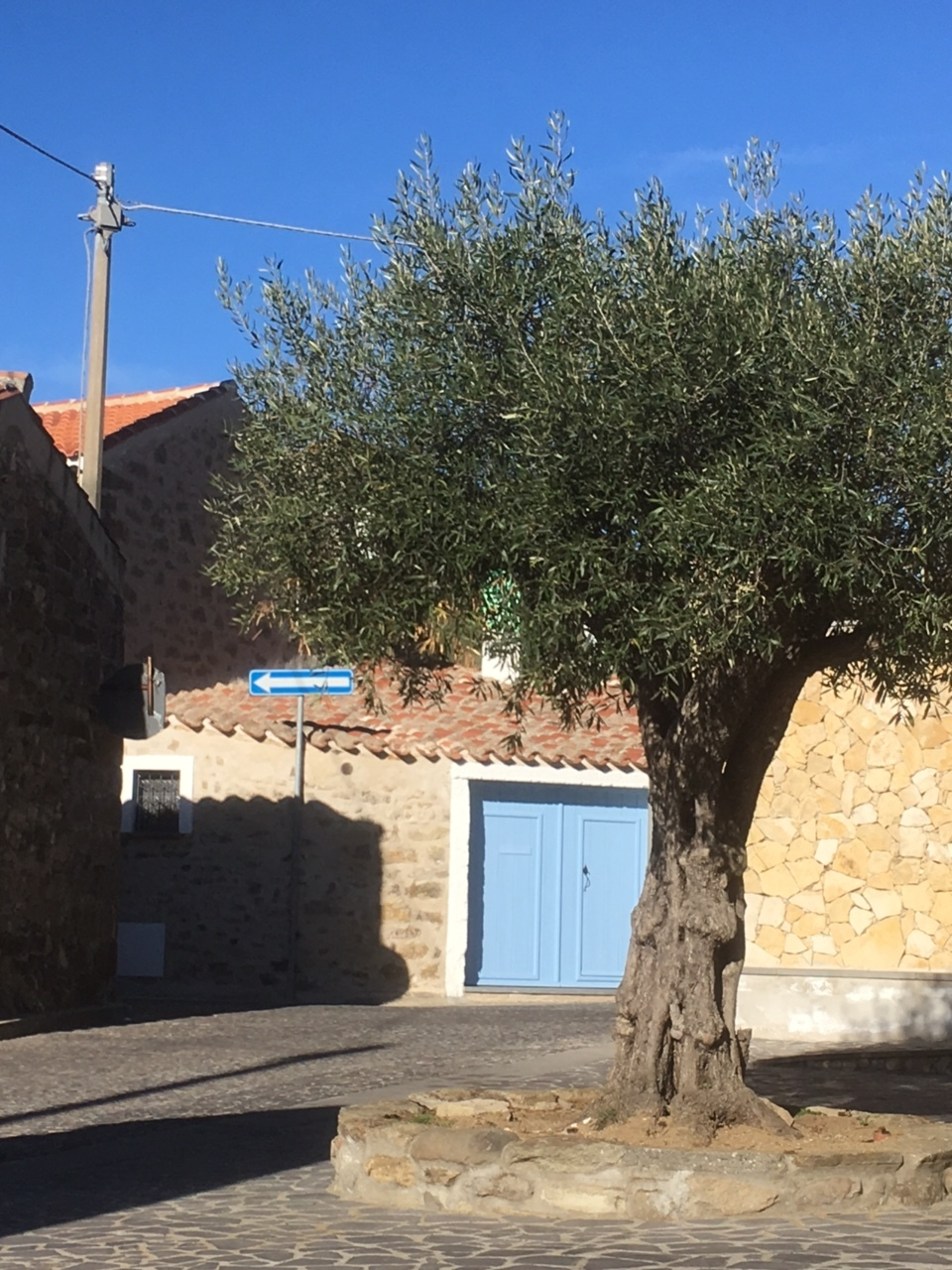 We live at Via Valenza 11, Mogorella (OR), the house with the blue door.