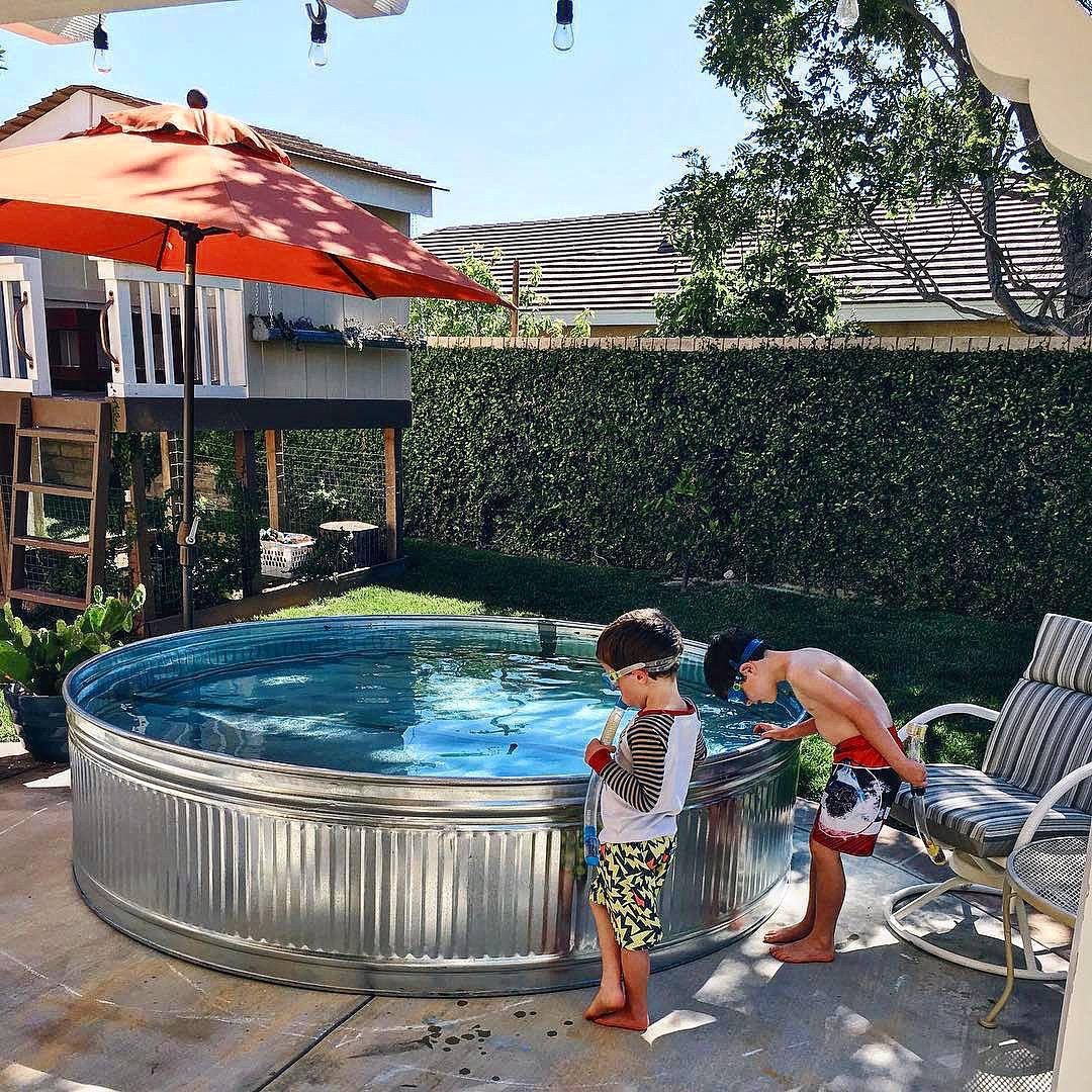 Backyard stock tank pool