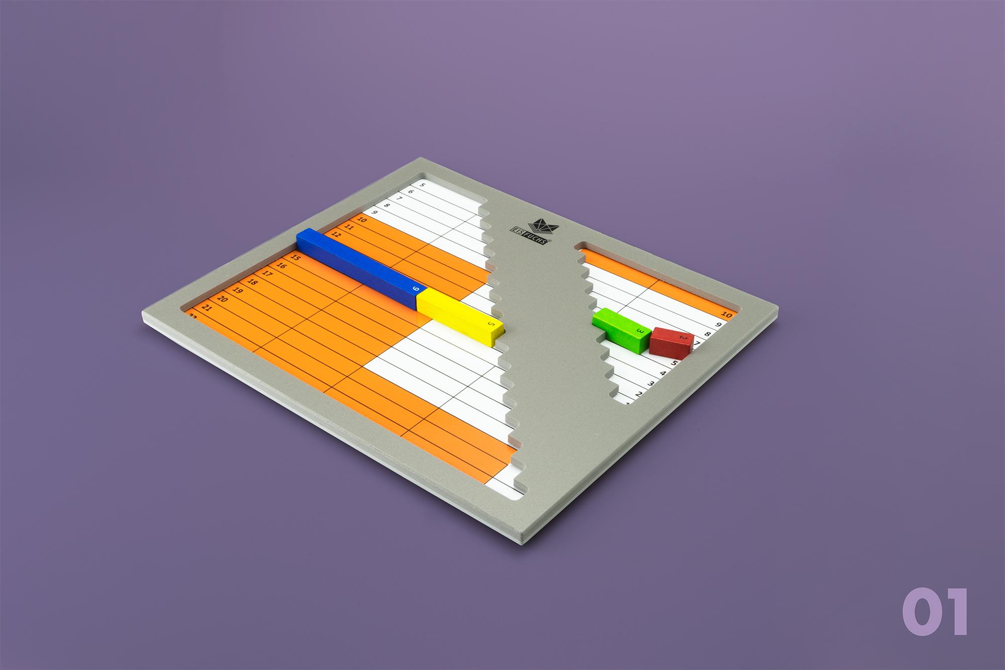 Zweiteiliges Treppen-Brett - Das zweiteilige Treppen-Brett aus Kunststoff und das Treppen-Brett aus Holz erfüllen auf leicht unterschiedliche Art dieselbe Funktion.Die Entscheidung zwischen dem grossen und dem kleinen Treppenfeld führt zu der oft vernachlässigten Rechenstrategie des Abschätzens von Lösungen.CHF 72.– mit Anleitung