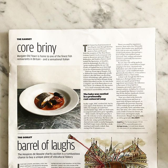 Core briny! It has been quite a weekend for reviews of Margate restaurants in national newspapers. So firstly a huge well done to our friends @bottegacaruso for their wonderful review by Grace Dent, who managed to put into words what we have all known for a very long time. And then we are lucky enough to have them alongside us in the @ft_howtospendit magazine too...