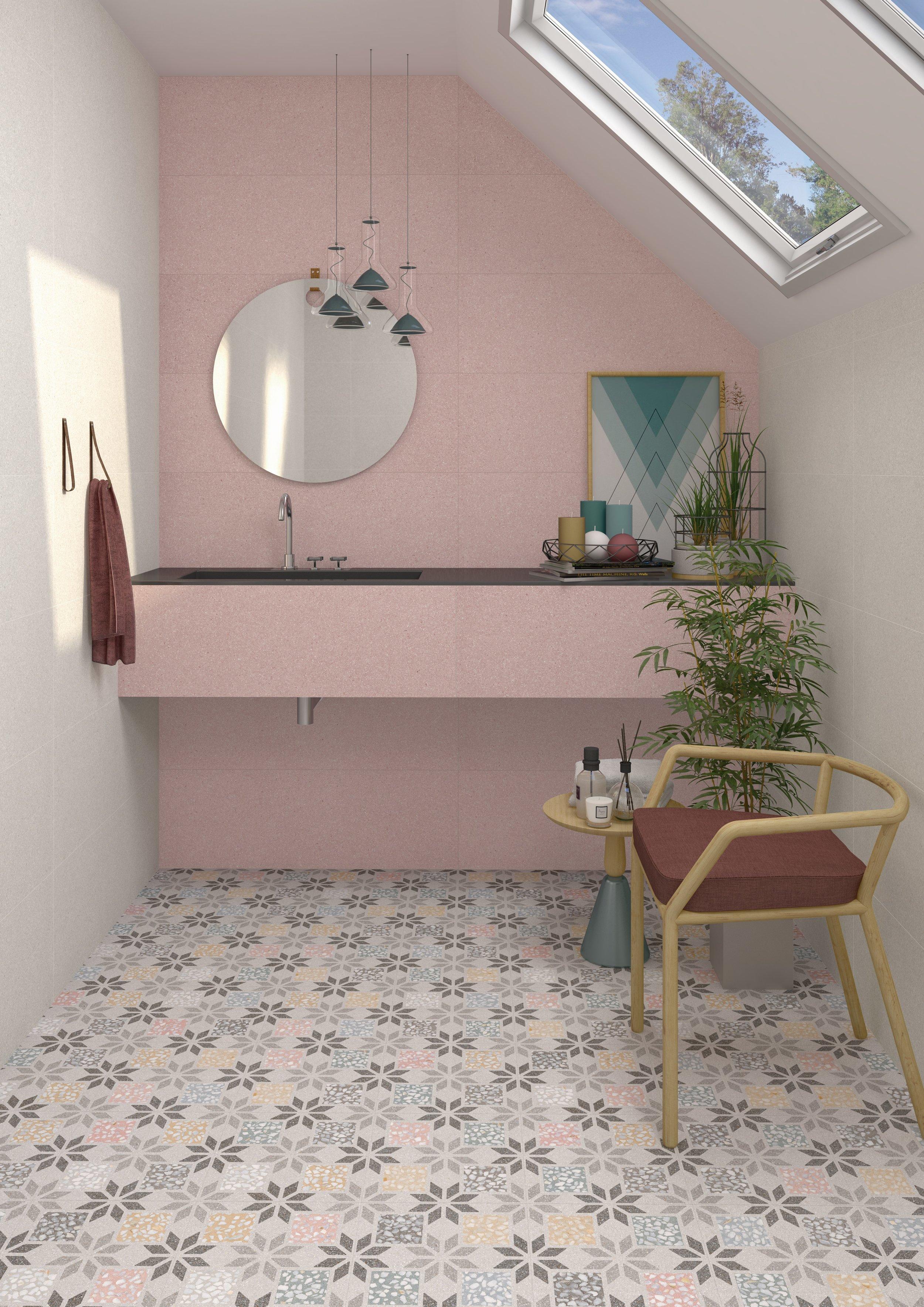 Floor : Vives 30x30 Apulia R Multicolor  Wall : Vives 99x32 cies R Rosa