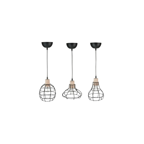 Lamp Hang Mini Metal / Wood Black Assortment of 3 (also available in white)