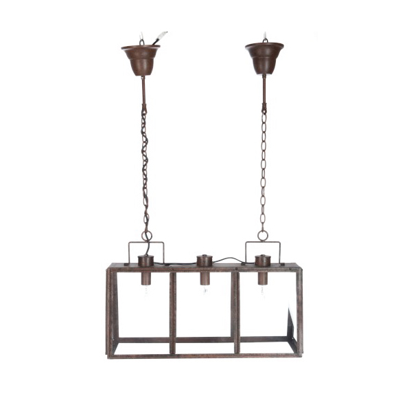 Hanging Lamp Rectangle 3 Parts Metal / Glass Rust (also available in 5 parts)