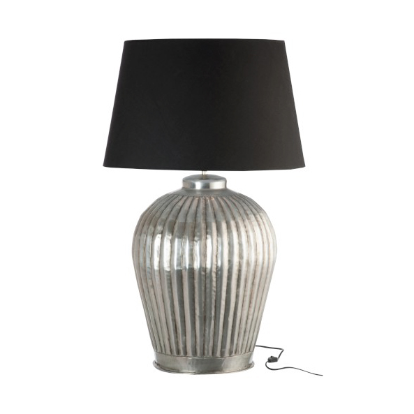 Lamp Base & Shade Ribbed Aluminium Grey / Black Medium 48x48x73CM (also available in large)