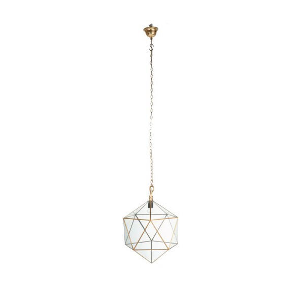Lamp Surface Triangle Iron / Glass Gold / Transparent Large 40x40x50CM