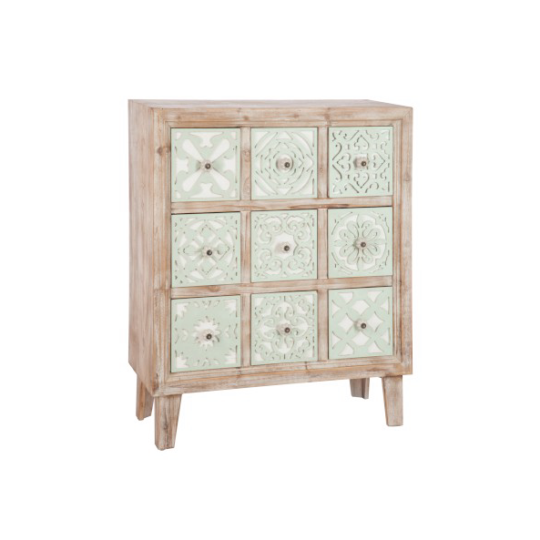 Chest of Drawers 9 Door, Oriental Wood / Metal, Green / White