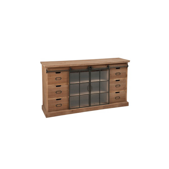 Closet Commode 6 Drawer & 2 Door, Wood, Natural / Metal Brown