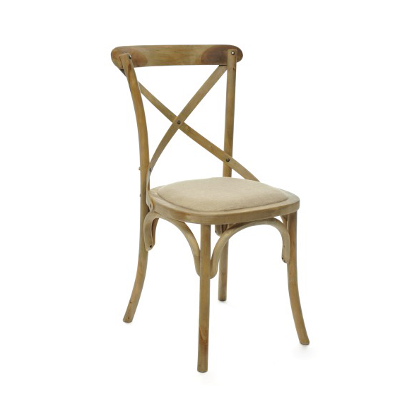 Chair Cross, Wood, Natural / Beige, 45x54x88CM